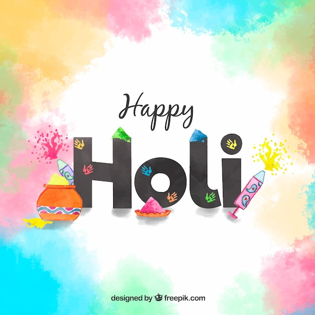 Happy holi background with lettering Free Vector