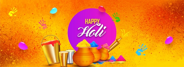 Happy holi background. Premium Vector