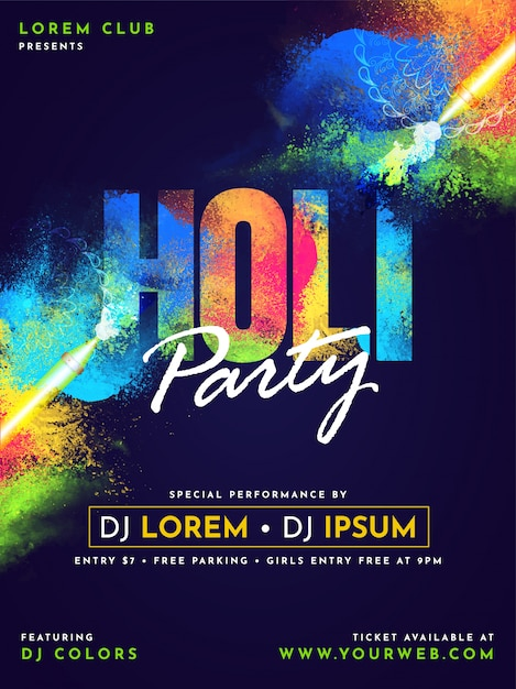 Happy holi celebration design. Premium Vector