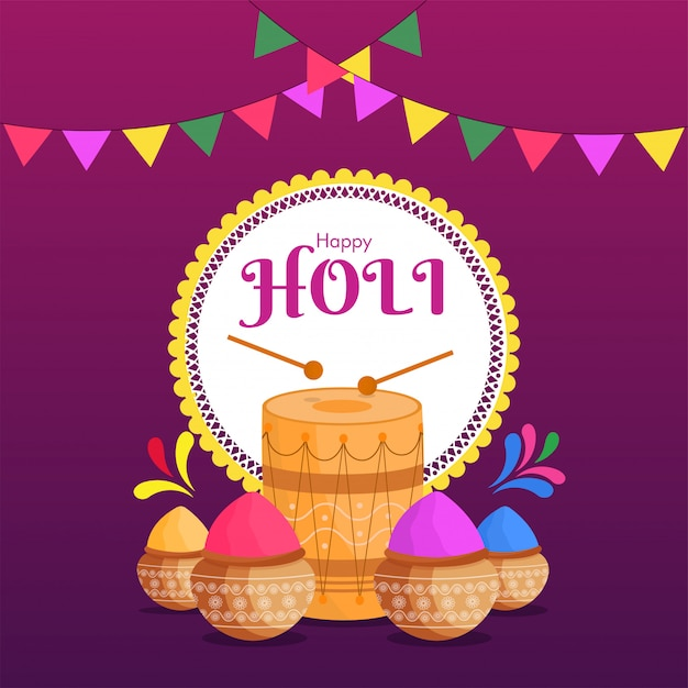 Дизайн плаката happy holi celebration с грязевыми горшками, полными сухого цвета и иллюстрации барабана Premium векторы