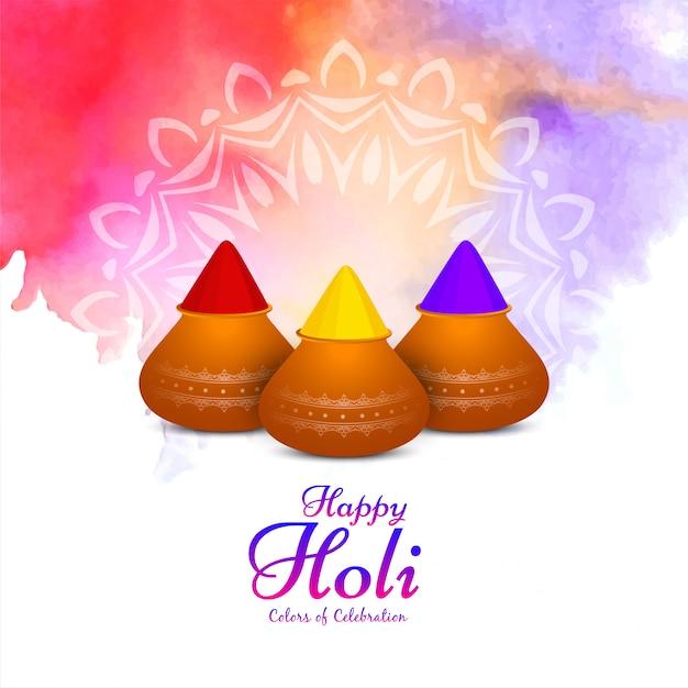 Happy holi colorful cultural  background Premium Vector