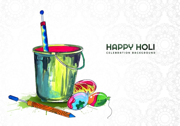 Happy holi colorful elements for card design Free Vector