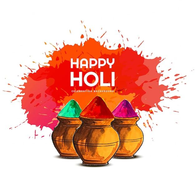 Happy holi colorful festival card Free Vector