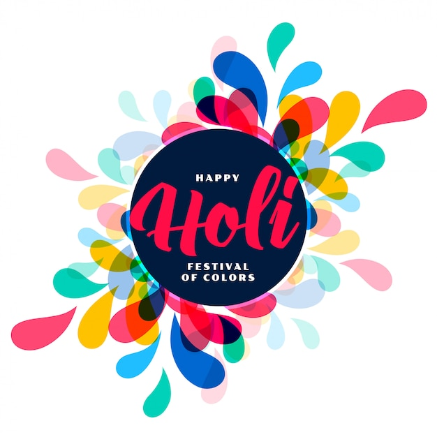 Happy holi colors splash festival greeting card Free Vector
