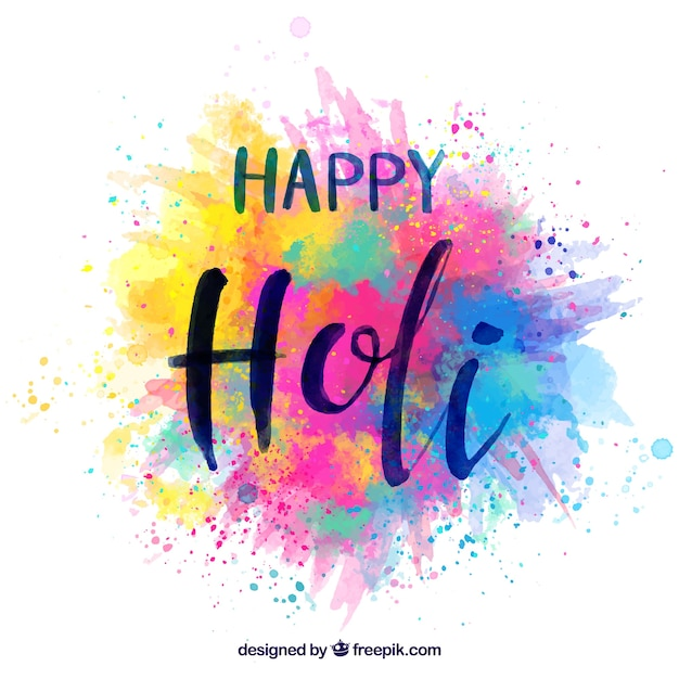 Happy holi colourful background Free Vector
