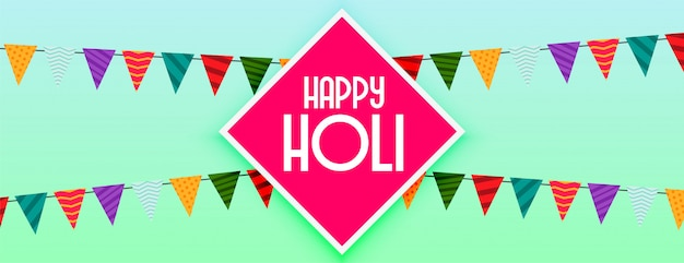 Happy holi decorative festival celebration banner Free Vector
