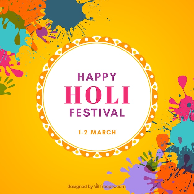 Happy holi festival background in flat design Free Vector