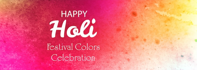 Happy holi festival colorful banner background Free Vector