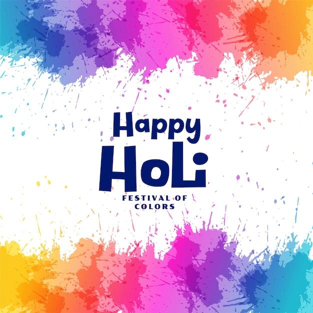 Happy holi festival colorful splashes background Free Vector