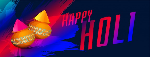 Happy holi festival of colors banner with powder color pot Free Vector