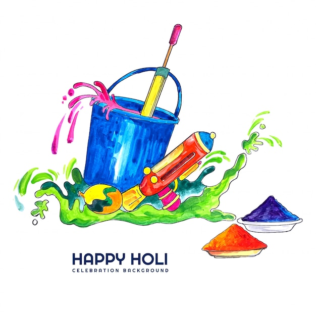 Happy holi for festival of colors celebration card Free Vector