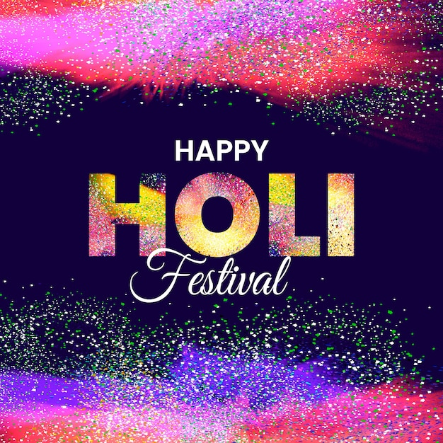 Happy holi festival explosion of colours realistic Free Vector