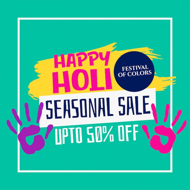 Happy holi festival sale template design Free Vector