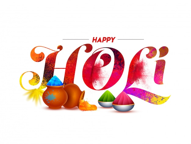 Happy holi font with color splash, mud pots and bowls full of powder (gulal) on white . Premium Vector