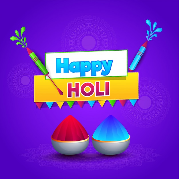 Happy holi greeting card design with color guns and bowls full o Premium Vector