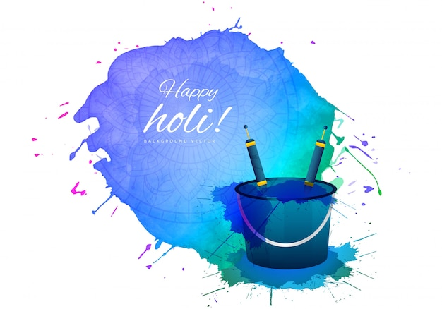 Happy holi indian spring festival of colors greeting Free Vector
