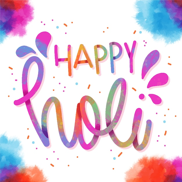 Happy holi lettering with confetti and watercolour frames Free Vector