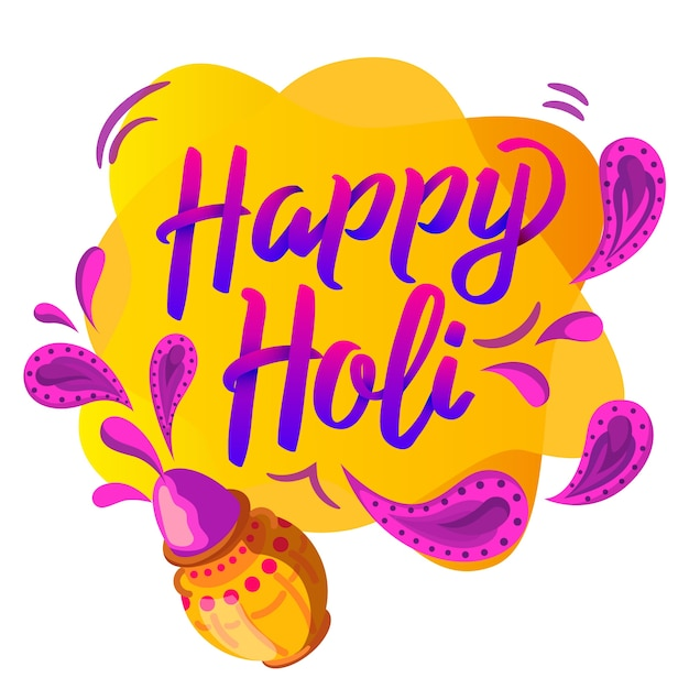 Happy holi lettering Free Vector