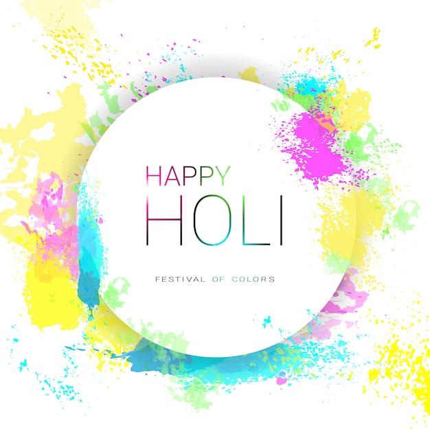 Happy holi religious india holiday traditional celebration greeting card Premium Vector