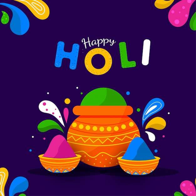 Happy holi text with mud pot and bowls full of powder illustration Premium Vector
