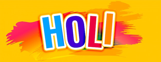 Happy holi text yellow abstract banner Free Vector