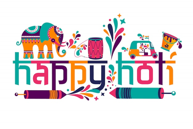 Happy holi vector elements for card design. Premium Vector