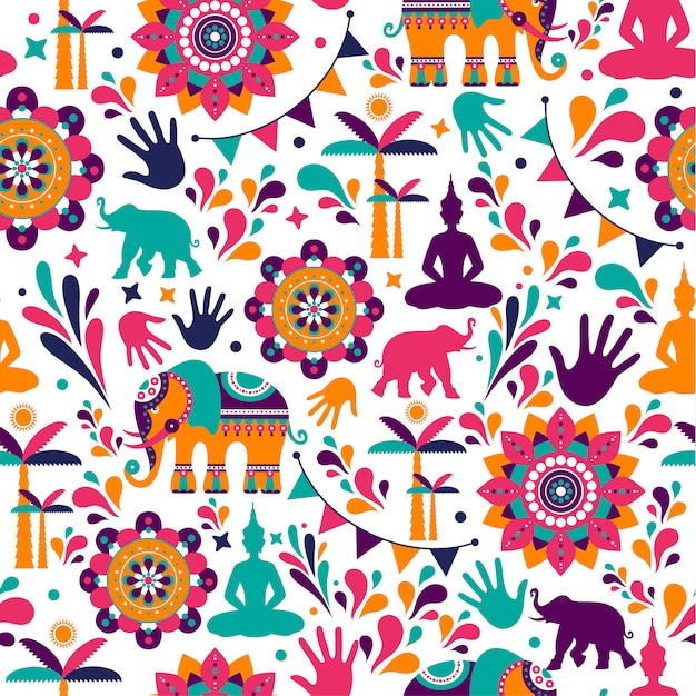 Happy holi vector elements seamless pattern design. Premium Vector