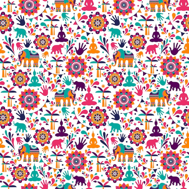 Happy holi vector elements seamless pattern design. Premium Vector