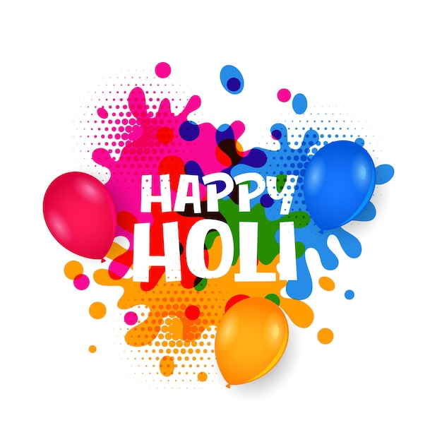 Happy Holi Water Balloons With Colorful Splatter Vector Free Download