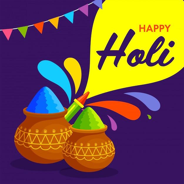 Индийский фестиваль цветов, happy holi иллюстрация с традиционным горшком, цветным порошком, цветной пушкой и всплеском. Premium векторы