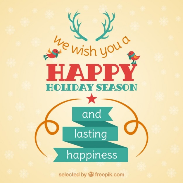 Happy holiday season card Vector Free Download
