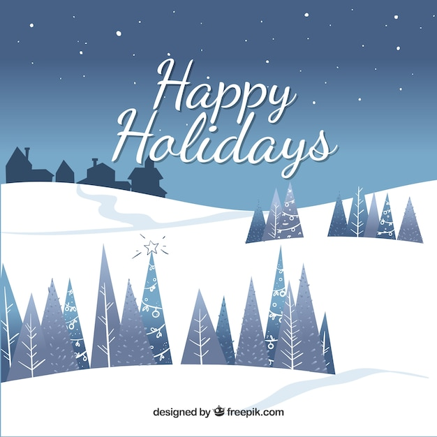 Happy holidays background with snow