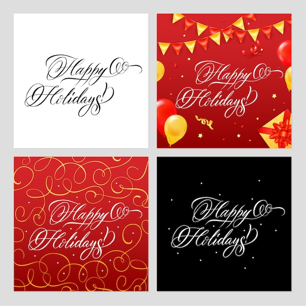 Happy holidays banners set Free Vector