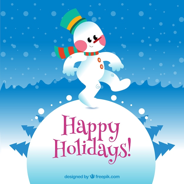 Happy holidays card with a funny snowman Vector Free Download