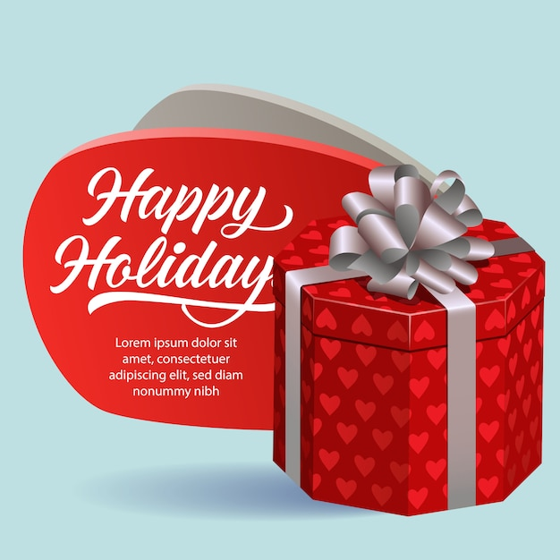Happy holidays festive flyer design. red gift box Free Vector