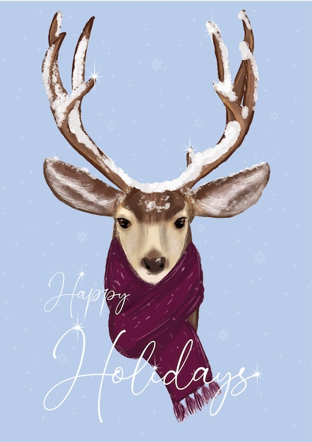 Happy holidays hand drawn template background Premium Vector