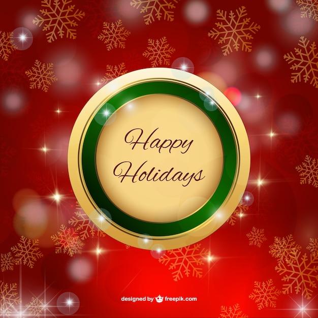 Happy holidays label Free Vector