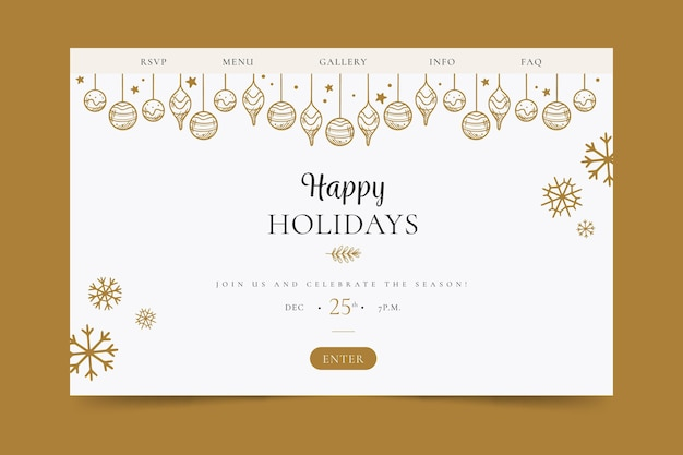 Целевая страница счастливых праздников Бесплатные векторы