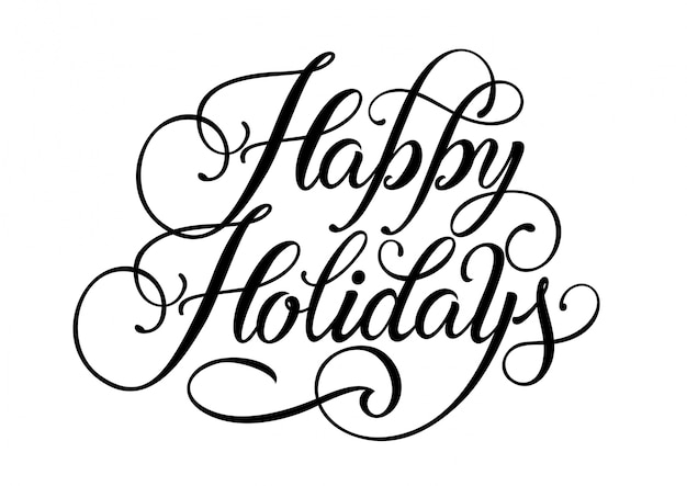 happy holidays lettering vector free download