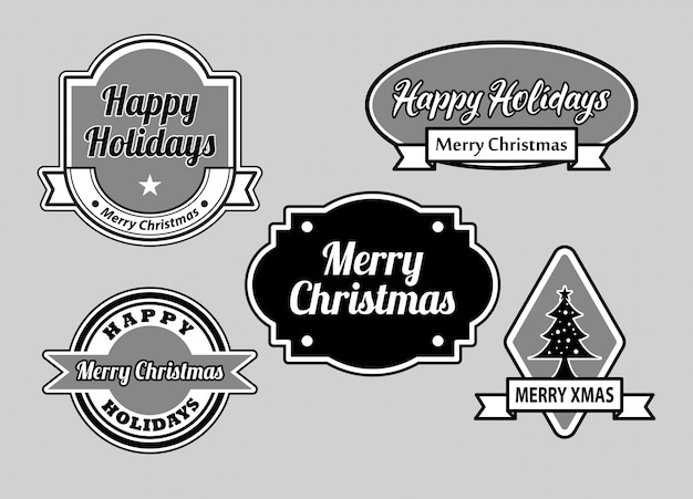 Happy holidays and merry christmas badges Premium Vector