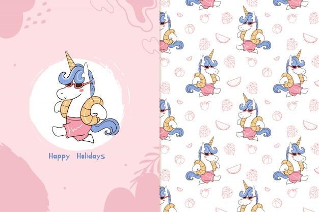 Happy holidays unicorn pattern Premium Vector