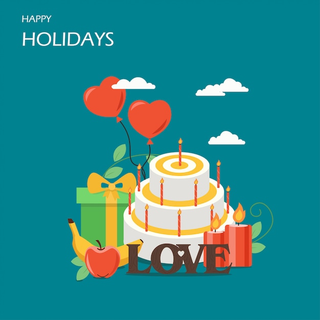 Happy holidays vector flat style design illustration Premium Vector