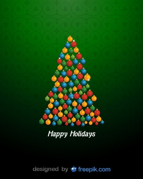 Happy Holidays with a Christmas Tree done with\ brilliant Christmas Balls
