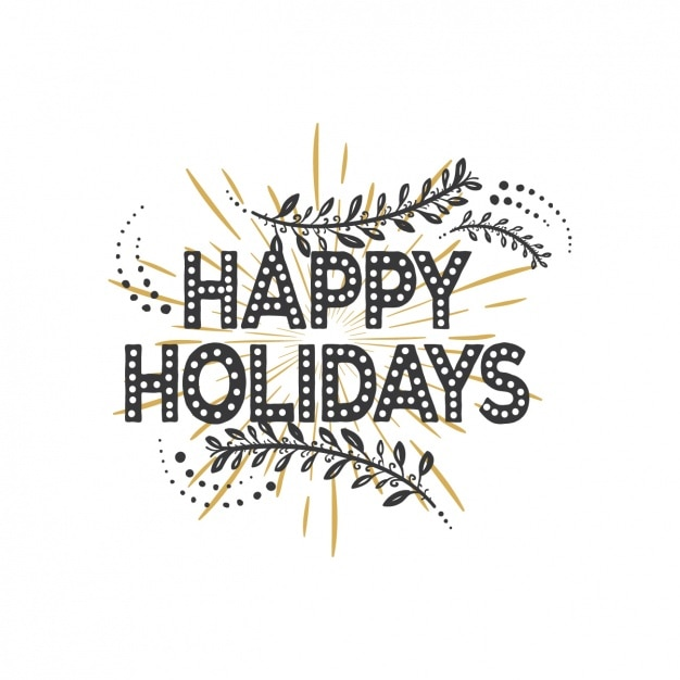 Happy holidays with black and golden background Vector Free Download