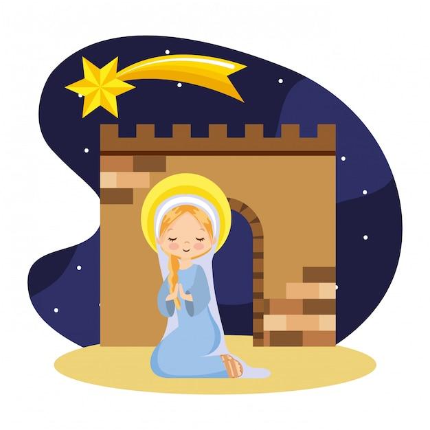 Счастливый святой марии молится мультфильм Premium векторы