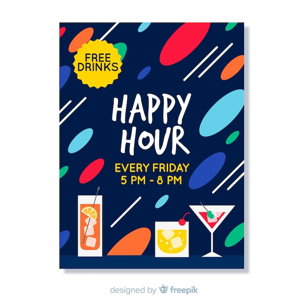 Happy hour abstract poster Free Vector