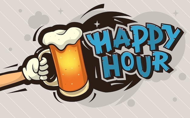 Happy hour cartoon poster design with an illustration of a hand Premium Vector