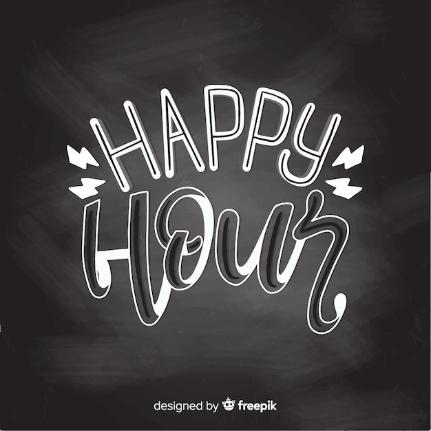 Happy hour event lettering Free Vector