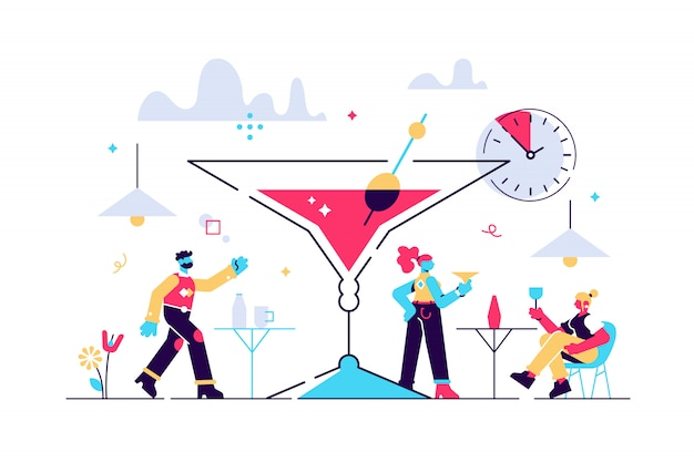 Happy hour  illustration.  tiny cheap alcohol time persons concept. Premium Vector