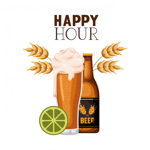 Happy hour label with beer isolated icon Premium Vector